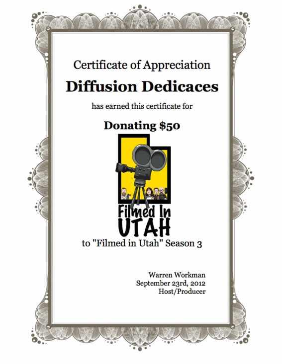 Certificat de Donateur de l'association Diffusion Dédicaces
